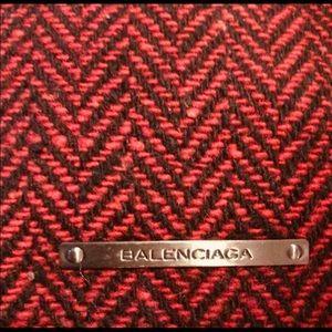Balenciaga Bags - Auth Balenciaga Tweed Tote w Black Leather Trim